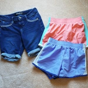 Girls shorts bundle lot 10-12 jegging and running